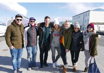 Harbour of Reykjavik, Iceland. Group foto with friends.