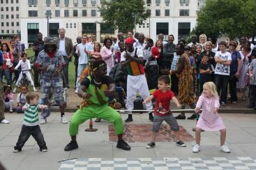 Acrobat with children