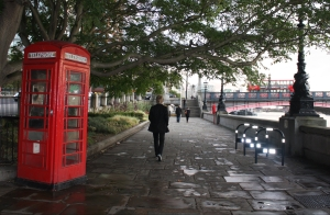 Walk along the Thames, red call box.